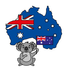 koala with hat australian flag map vector image