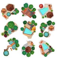 Landscape compositions top view set vector