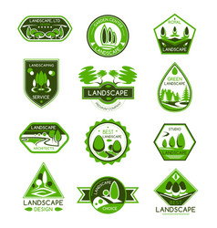 Landscape design badge set of park and garden tree vector