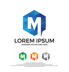 letter m logo with modern polygonal style vector image
