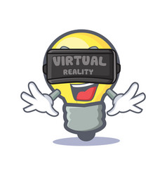 light bulb character cartoon with virtual reality vector image