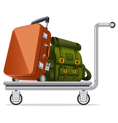 Luggage on trolley vector