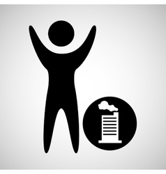 man happy silhouette with building factory icon vector image