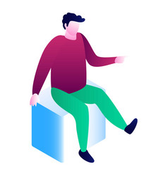 man sit on cube icon isometric style vector image
