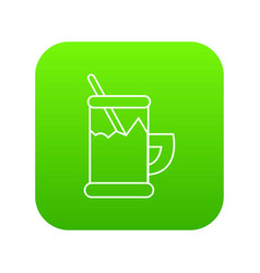 metal glass cup tea icon green vector image