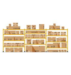 metallic shelves with carton brown boxes vector image