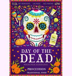 Mexican holiday dia de los muertos calavera skull vector