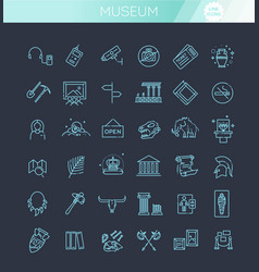 museum icons set museum exhibits collection thin vector image