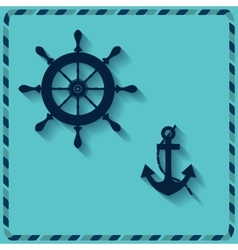 Nautical wheel and anchor vector