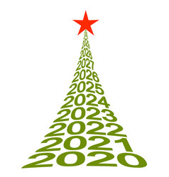 new year tree numbers 2020 christmas tree vector image