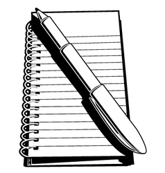 Note pad and pen vector