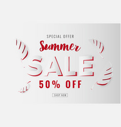 paper cut summer sale promotion background vector image