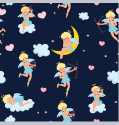 pattern with cupids hearts clouds and stars vector image