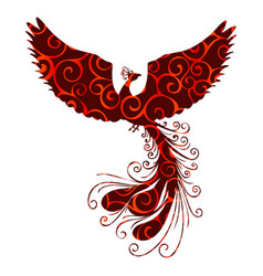 Phoenix bird pattern silhouette ancient mythology vector