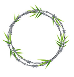 Realistic 3d detailed barbed wire frame vector