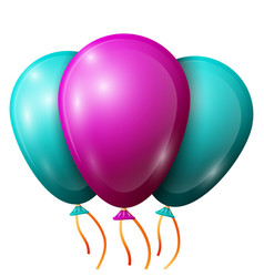 Realistic turquoise purple balloons with ribbons vector