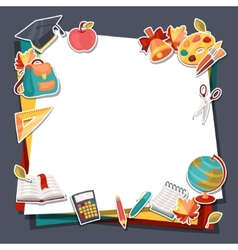 School background with education sticker icons and vector