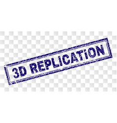 Scratched 3d replication rectangle stamp vector
