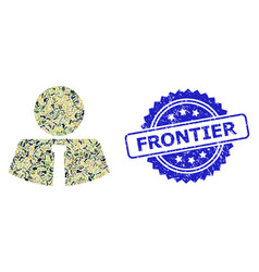 Scratched frontier stamp seal and military vector