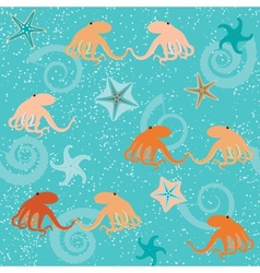 Seamless pattern with octopuses shells and stars vector image
