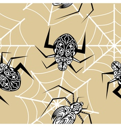 Seamless texture with a spider tattoo vector image