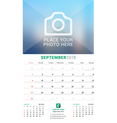 september 2018 wall monthly calendar for 2018 vector image