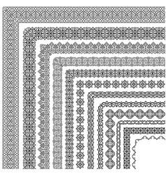 set corner brushes in oriental style vector image