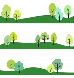 Set of landscape with trees vector