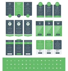 Set of Pricing Table Design Templates for Websites vector