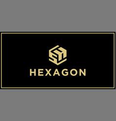 sh hexagon logo design inspiration vector image