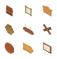 Signboard icons set isometric style vector