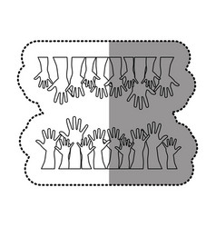 Silhouette together hands up icon vector