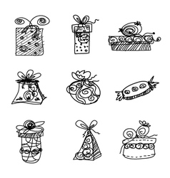 Sketch gift boxes on white background vector image