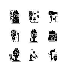 Skincare routine black glyph icons set on white vector