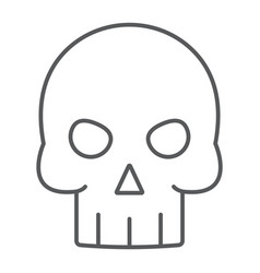 skull thin line icon halloween and death vector image
