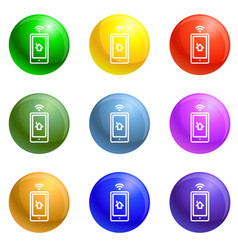 smart house control icons set vector image