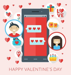 smartphone with love sms and st valentine icons vector image