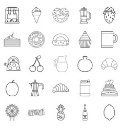 Snack to coffee icons set outline style vector