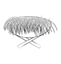 Straw cradle manger icon vector