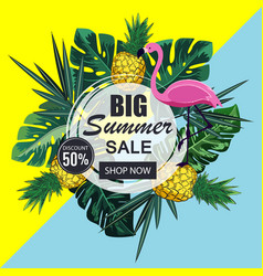 summer sale banner with paper cut flamingo vector image