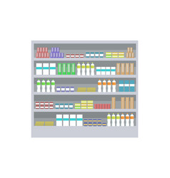 supermarket shelf and products vector image