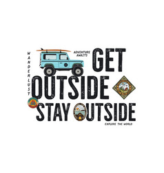 Travel badge design outdoor adventure logo with vector