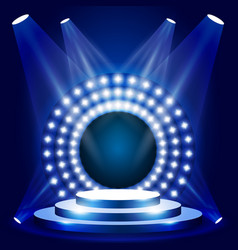 Tv show scene with circle lights - podium vector