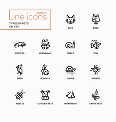 types of pets - modern single line icons vector image