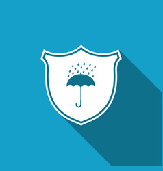 Waterproof icon with long shadow shield umbrella vector