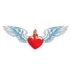 Winged heart with flames vector image