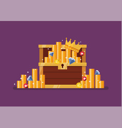wooden treasure chest with gold vector image