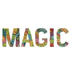 Word magic decorative zentangle object for vector