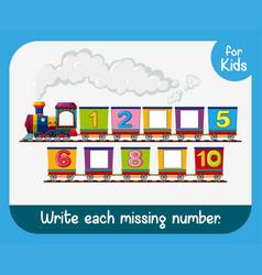 Write each missing number worksheet vector