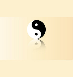 yin yang symbol with reflection vector image
